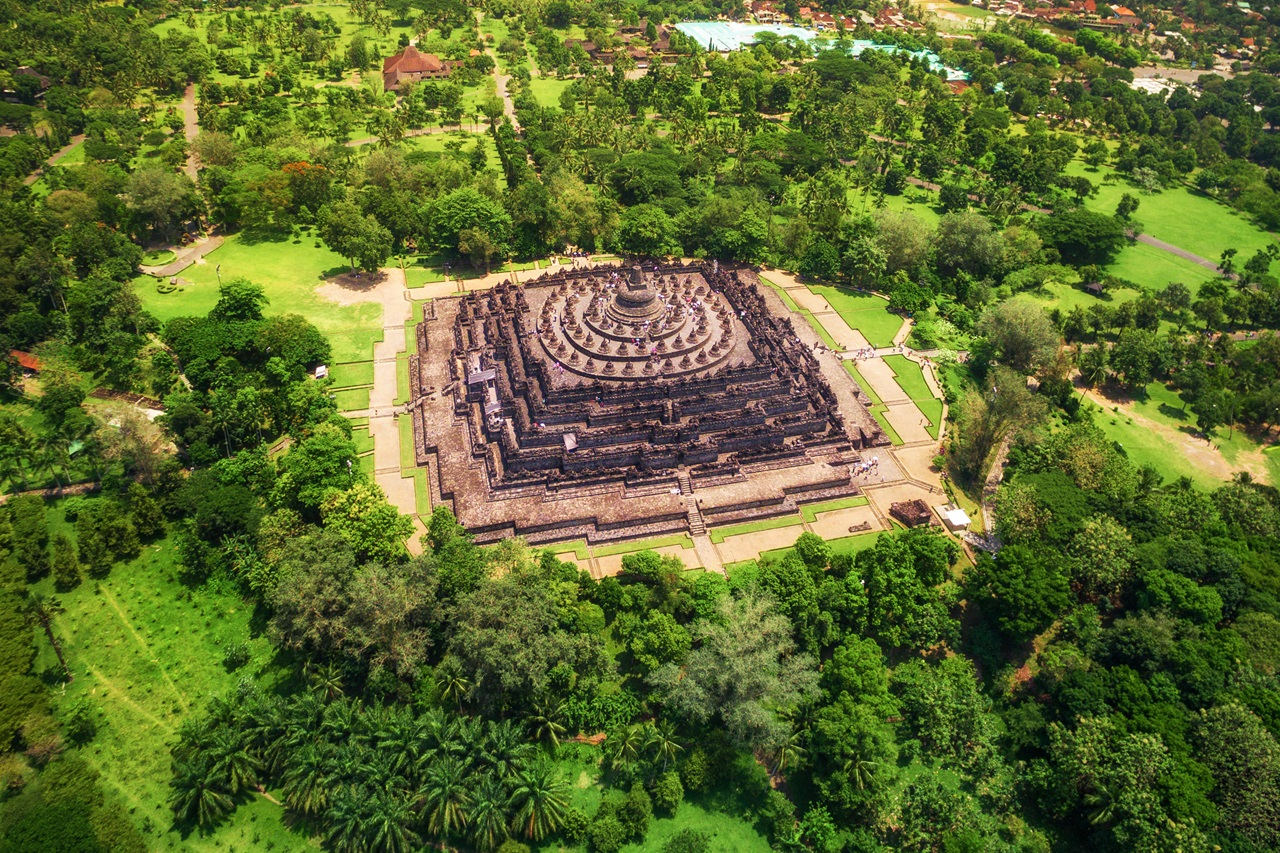 The Ancient Temple of Borobudur in Central Java, Indonesia